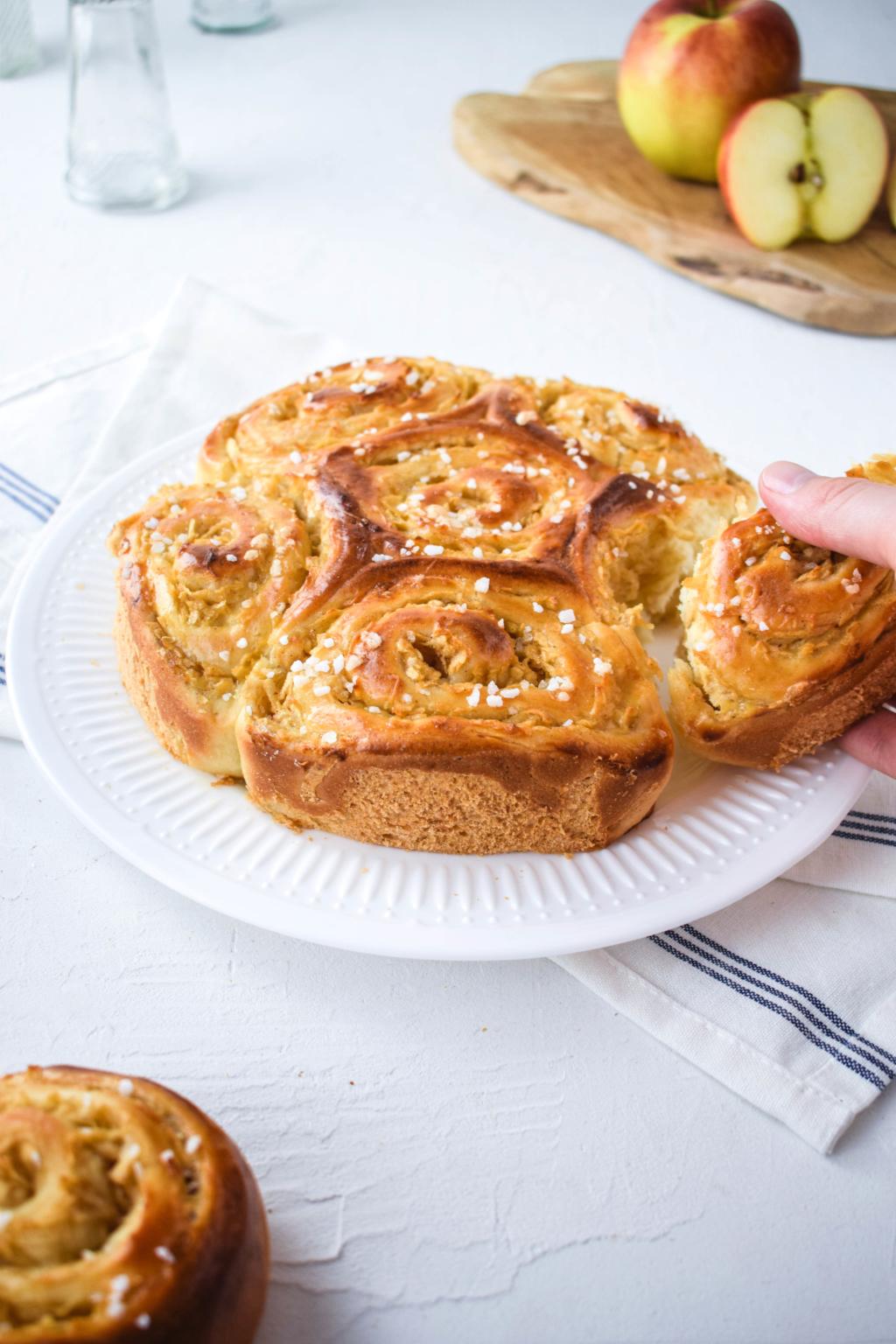 Apfel Schnecken Kuchen mit Hagelzucker