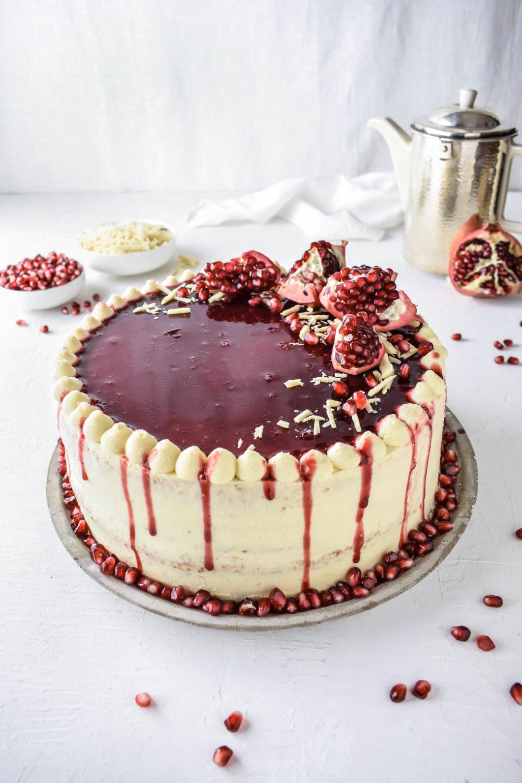 Granatapfel Weisse Schokoladen Torte Mit Mascarpone
