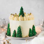 Festliches Rezept für eine weihnachtliche Torte. Tannenbaum Torte mit Marmorkuchen und Orangencurd. Wintertorte mit Tannenbäumen aus Eiswaffeln. #Weihnachtstorte #Wintertorte #Tannenbaumtorte #Marmorkuchen #Marmortorte #Buttercremetorte