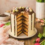 Rezept für eine elegante Ostertorte mit Marzipan, Nougat und Buttercreme. Ostertorte dekorieren mit Schokodrip und Osternestern. #Ostertorte #Ostern #Torte #Dripcake #Driptorte